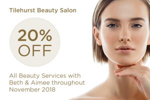 20% off all beauty services throughout November