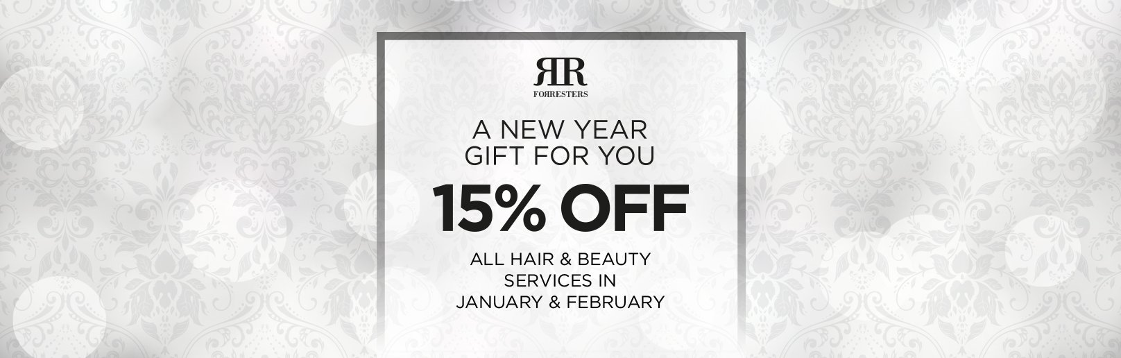 save 15 percent on all beauty salon services in January and February