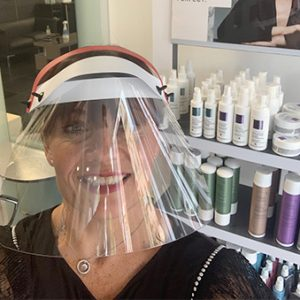 Protective visor at Forresters Abingdon hairdressers