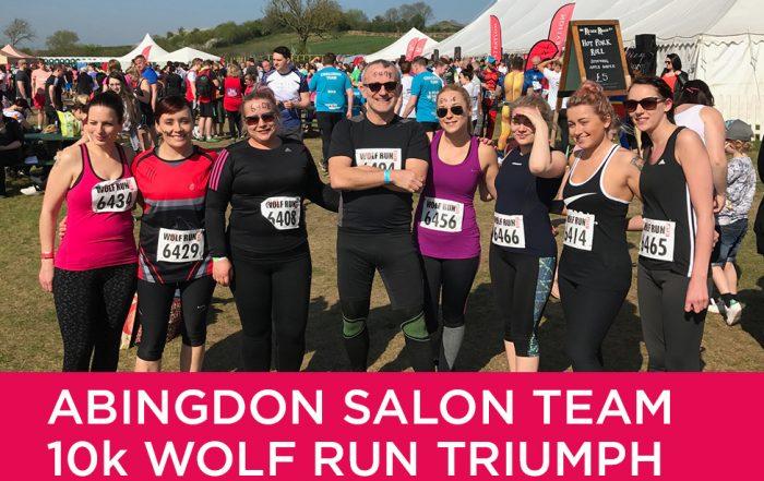 Forresters abingdon hair salon team run a 10k Wolf Run