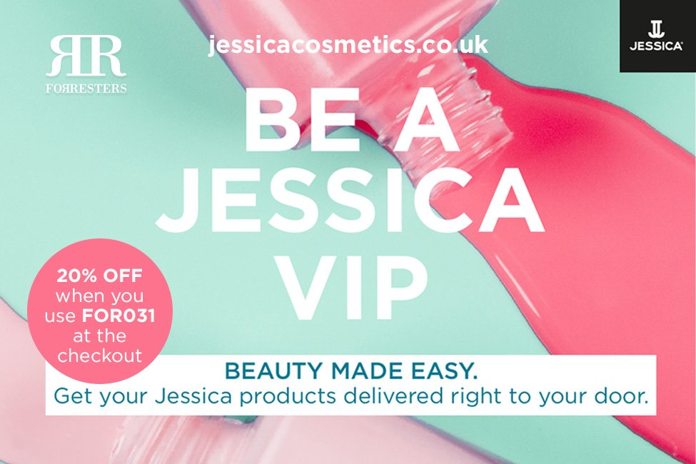 an invitation to get 20% all Jessica products at jessicacosmetics.co.uk using the code FOR031