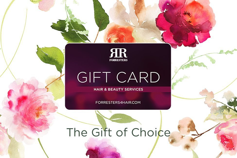 A floral background with a Forresters gift card image portraying the gift of choice