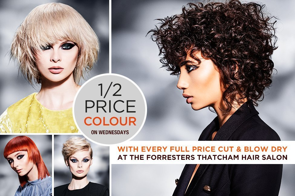 a money saving offer with hair models with different coloured hair