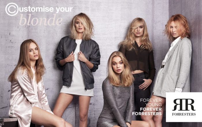 group of hair models with a selection of blonde hair colours