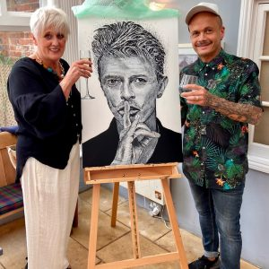 summer garden party - Maz and Stuart with David Bowie