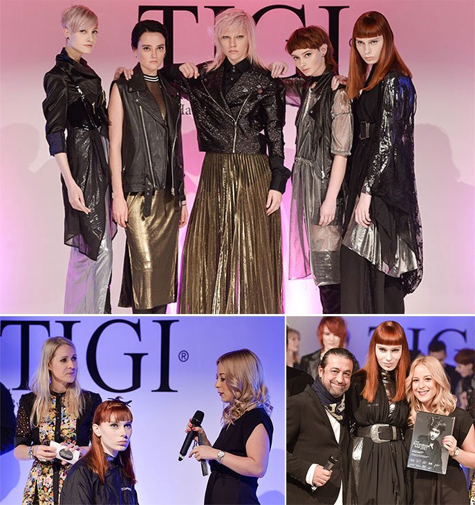 Sophie Garbutt on stage with the TIGI Inspirational Youth trainers and team November 2017